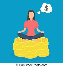 donna sedendo, yoga, loto, monete., atteggiarsi