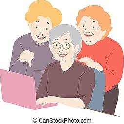 donna senior, amici, laptop, illustrazione