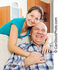 donna senior, marito, maturo, felice
