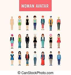 donna, set, avatar