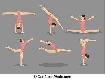 donna, set, ginnasta, vettore, flessibile, icona