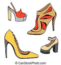 donna, set, scarpe
