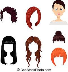 donna, set, sei, tagli capelli