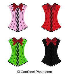 donna, set, sexy, corsetto