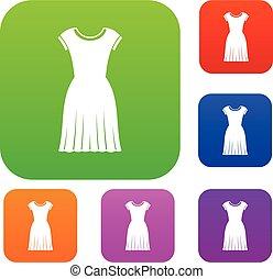 donna, set, vestire, collezione