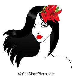donna, sexy, silhouette, bello