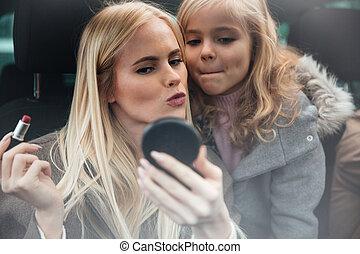 donna, sguardo, trucco, giovane, carino, specchio