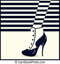 donna, shoes., alta moda, talloni, gambe
