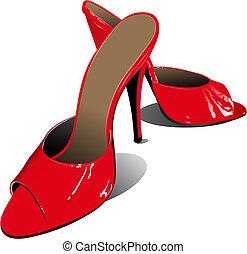donna, shoes., illustrazione, vettore, moda, rosso
