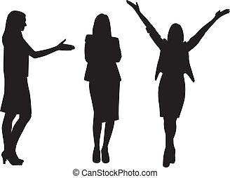 donna, silhouette, affari