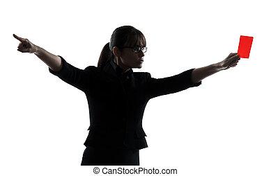 donna, silhouette, affari, esposizione, scheda rossa