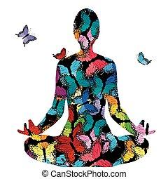 donna, silhouette, astratto, atteggiarsi, farfalle, yoga