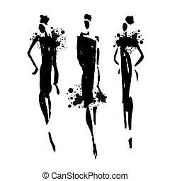 donna, silhouette., bello