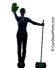 donna, silhouette, brooming, fermata, domestica, lavori domestici