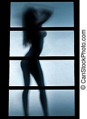 donna, silhouette, camera letto