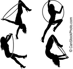 donna, silhouette, cerchio, un po', set, fondo, aereo, bianco, elementi, acrobatico