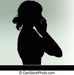donna, silhouette, con, gesto mano, mani, il, bocca