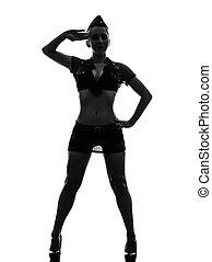 donna, silhouette, esercito, uniforme, sexy, fare il saluto ...