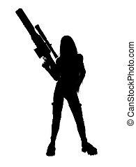 donna, silhouette, fucile, presa a terra