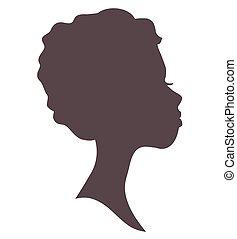 donna, silhouette, giovane, faccia, girl., carino, head., bello