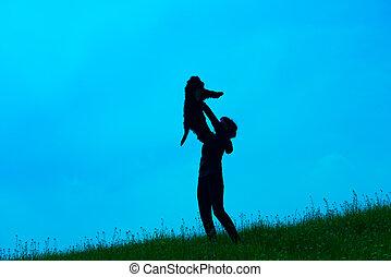 donna, silhouette, giovane, lei, cane