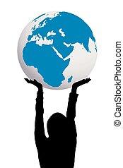 donna, silhouette, globo, tenere mani, terra