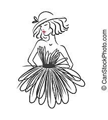 donna, silhouette, illustration., atelier, vestire, isolato, vettore, white., logotipo, moda