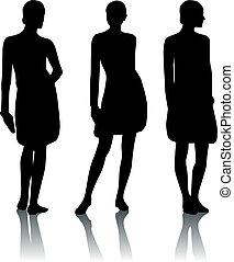 donna, silhouette