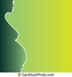 donna, silhouette, incinta, -, illustrazione, nudo