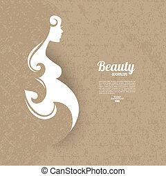 donna, silhouette, incinta, vendemmia, struttura, cartone