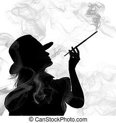 donna, silhouette, isolato, fondo, fumo, bianco