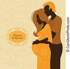 donna, silhouette, lei, incinta, coppia., fondo, marito