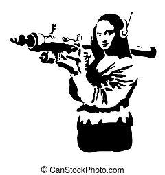 donna, silhouette, lei, stencil., illustrazione, vettore, graffito, arma, hands.