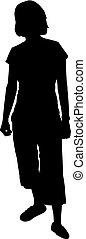 donna, silhouette, leva piedi, isolato, illustrazione, vettore, fondo, bianco