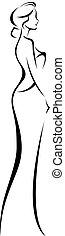 donna, silhouette, lineare, cocktail, elegante, abito nunziale, o