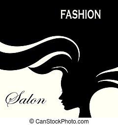 donna, silhouette, moda, lungo, hair.