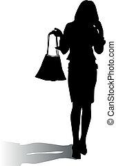 donna, silhouette, moda