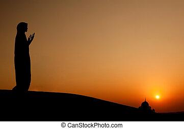 donna, silhouette, musulmano, pregare