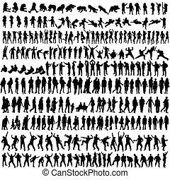 donna, silhouette, persone, vettore, bambino, uomo