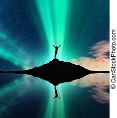donna, silhouette, riflessione, cielo, aurora, acqua