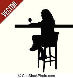 donna, silhouette, ristorante, seduta, pub, sbarra, caffè, tavola, o