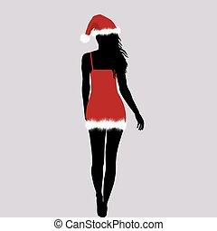 donna, silhouette, santa