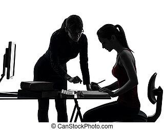 donna, silhouette, studiare, adolescente, madre, ragazza, insegnante