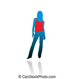 donna, silhouette, t-shir