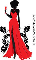donna, silhouette, wineglass