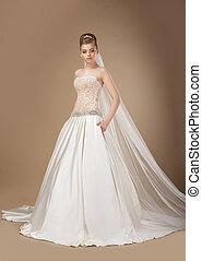 donna, snello, sofisticato, elegante, proposta, lungo, vestire
