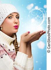 donna, soffiando, neve