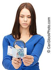 donna, soldi, contanti, vetro, ingrandendo, euro