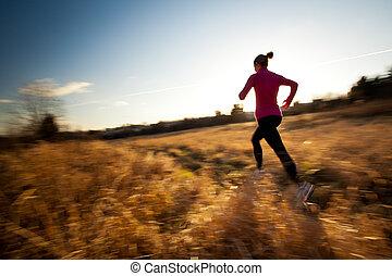 donna, soleggiato, giovane, correndo, winter/fall, fuori, bello, giorno