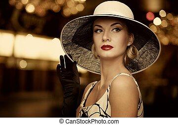 donna, sopra, cappello, fondo., sfocato
